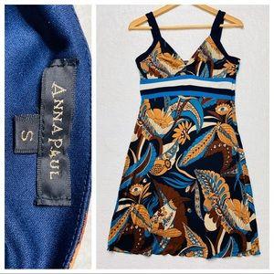 Anna Paul Dress Silk Floral Retro Blue Brown S